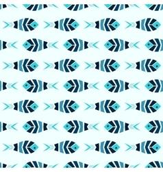 Flock of blue mosaic fish pattern seamless vector