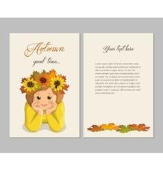 Girl autumn card vector
