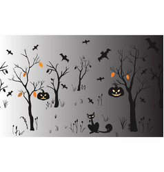 halloween background with silhouettes seamless vector image