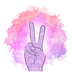 hands with a gesture of peace vector image vector image