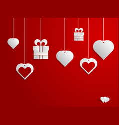 happy valentines day hearts and gift hanging on vector image vector image