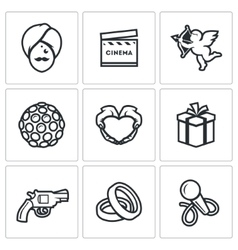 Indian cinema icons set vector