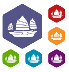 Junk boat icons set hexagon vector