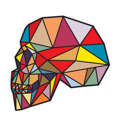 Low poly side view human skull vector