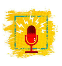 Microphone on halftone background vector
