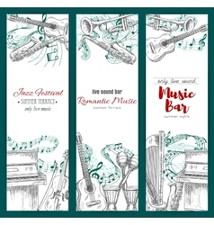 Musical instruments sketch music festival banners vector