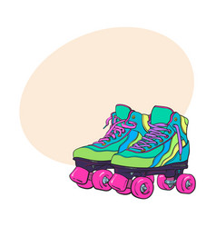 Pair of vintage retro quad roller skates sketch vector