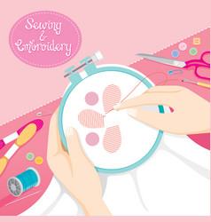 people hand sewing clothes in embroidery hoop vector image vector image