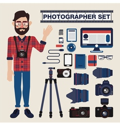 Professional Photographer Set Kit with Cameras vector image vector image
