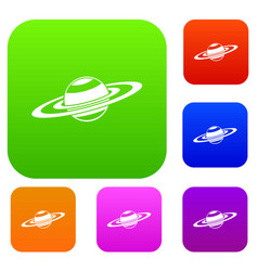 saturn rings set collection vector image