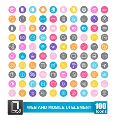 Set of 100 icon with color background for web and vector image vector image