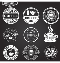 Set of coffee labels design elements emblems and vector