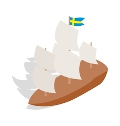 Ship with Swedish flag icon isometric 3d style vector image vector image
