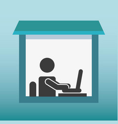 Silhouette human working in laptop vector