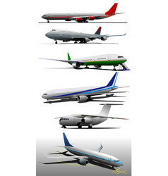 Six airplanes on the airfield vector
