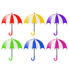 six umbrellas in different colors vector image
