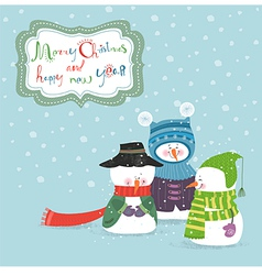 Three christmas snowman vector image vector image