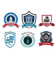 University college and academy heraldic emblems vector image vector image