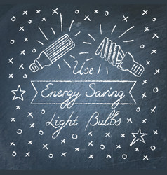 use energy saving light bulbs lettering on vector image vector image