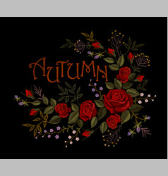 Vintage autumn lettering flower red rose vector