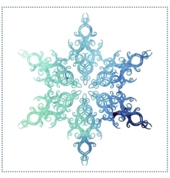 Watercolor elegant snowflake on a white background vector