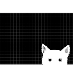 White cat grid background vector