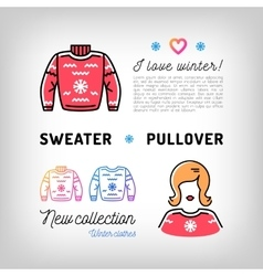Winter sweater thin line icons christmas pullover vector image vector image