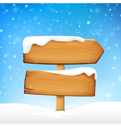 Wooden sign blank board and winter snow with copy vector