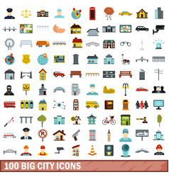 100 big city icons set flat style vector