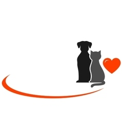 animals with heart on white background vector image
