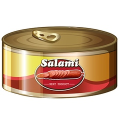 Salami in aluminum can vector