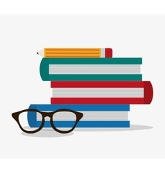 Books glasses and pencil design vector image