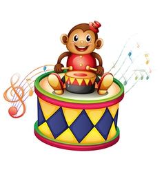 A monkey above a big drum vector