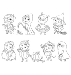 Happy halloween coloring book vector