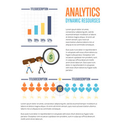 Business analytics banner with businessmen vector