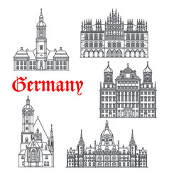 Germany famous architecture buildings icons vector