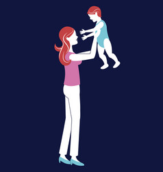 mother holding baby blue background vector image