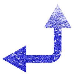 Bifurcation arrow left up grunge textured icon vector