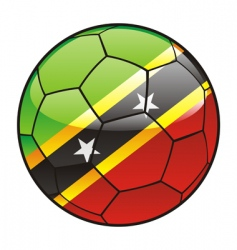 St Kitts and Nevis flag on soccer ball vector image