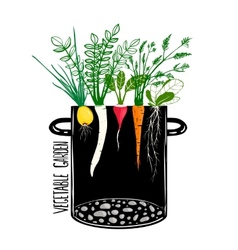 Grow vegetable garden and cook soup vector