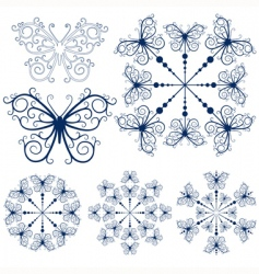 Collection blue snowflakes vector