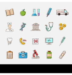 Doodle healthcare icons vector