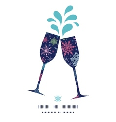 Snowflakes on night sky toasting wine glasses vector