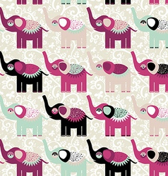 Cheerful seamless pattern elephants and flowers vector
