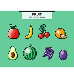 Fruit set in flat style with a stroke vector