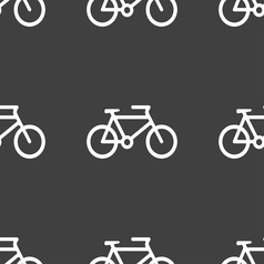 Bike icon sign seamless pattern on a gray vector