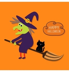 Happy halloween witch and black cat cloud vector