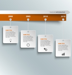 Time line info graphic with hanging white labels vector