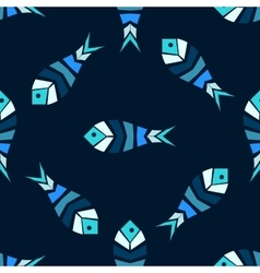 Mosaic fish seamless pattern vector