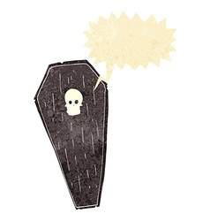 Spooky cartoon coffin with speech bubble vector